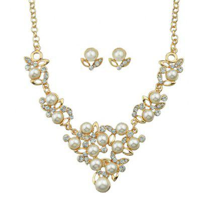 A Suit of Vintage Rhinestoned Faux Pearl Necklace and Earrings