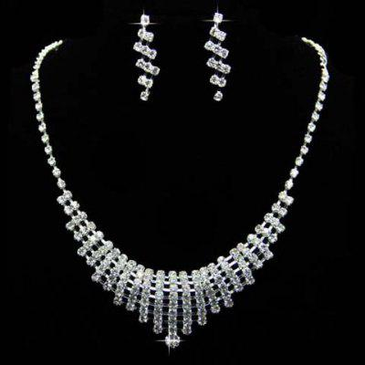 A Suit of Vintage Rhinestoned Hollow Out Pendant Necklace and Earrings