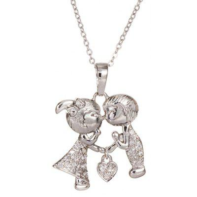 Sweet Rhinestone Solid Color Boy And Girl Shape Necklace For Women