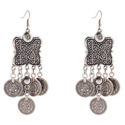 Pair of Vintage Coin Tassel Drop Earrings