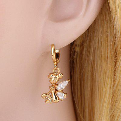 Pair of Faux Crystal Fairy Shape Drop Earrings