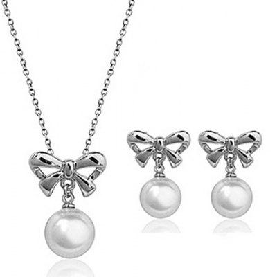 A Suit of Stylish Faux Pearl Hollow Out Bowknot Necklace and Earrings For Women