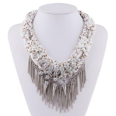 Rivet Rhinestone Layered Chain Fringed Necklace