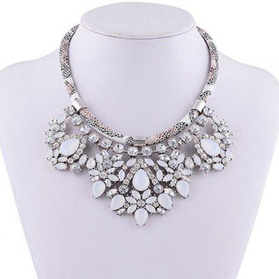 Faux Leather Rope Rhinestone Water Drop Necklace