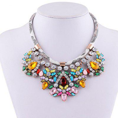 Graceful Rhinestone Water Drop Faux Leather Rope Necklace For Women