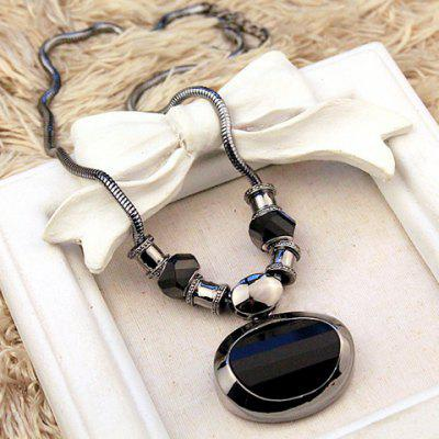 Faux Onyx Geometric Necklace