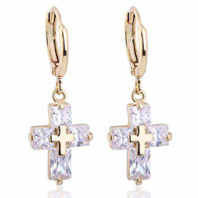 Pair of Vintage Faux Crystal Cross Shape Earrings For Women