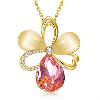 N921-A 24K Gold Plated Czech Diamond Flower Pattern Pendant Necklace