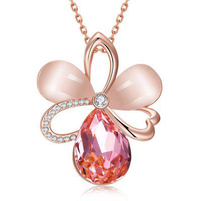 Buy ROSE GOLD N921-B Rose Gold Plated Czech Diamond Flower Pattern Pendant Necklace for $4.66 in GearBest store