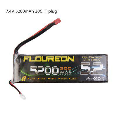 Extra Spare FLOUREON T Plug 7.4V 5200mAh 30C Battery for RC Helicopter Airplane Boat Model