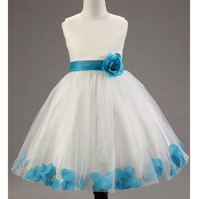 Sweet Sleeveless Round Neck Flower Petal Laciness Princess Dress