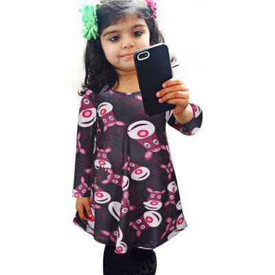 Chic Jewel Collar Long Sleeve Printed A-Line Girls Christmas Swing Dress