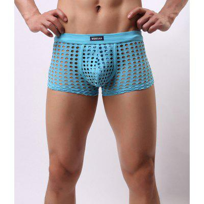 Elastic Waist Sexy U Pouch Design Mesh Hollow Out Men's Boxer Brief