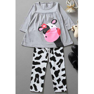 Stylish Long Sleeve Cartoon Cow Print T-Shirt + Color Block Leggings Twinset For Girl