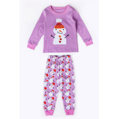 Stylish Round Neck Long Sleeve Christmas Snowman Print T-Shirt + Pants Kid's Twinset