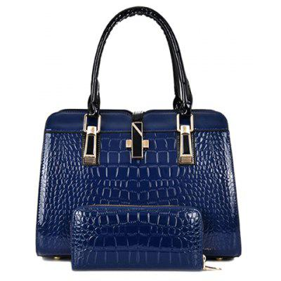 Stylish Pure Color and Crocodile Print Design Women's Tote Bag