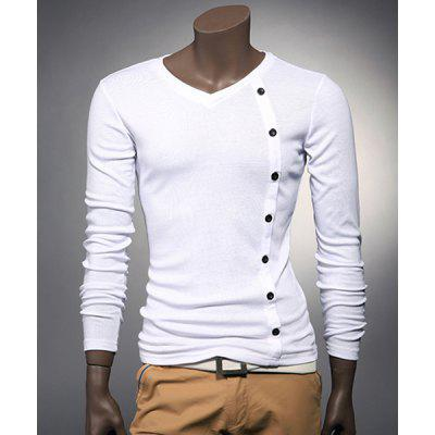 V Neck Button Embellished Slimming Long Sleeve Men's T-Shirt