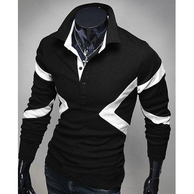 Hot Sale Turn-down Collar Color Block Triangle Spliced Slimming Long Sleeves Men's T-Shirt
