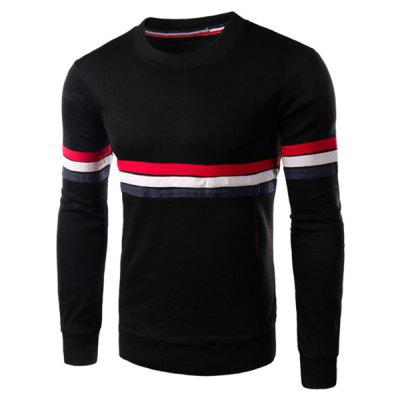 Crew Neck Stripe Long Sleeve T Shirt