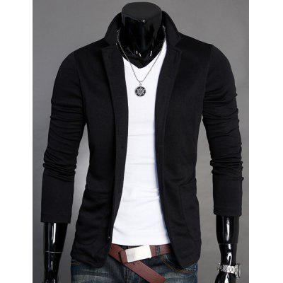 Buy BLACK Stand Collar Splicing Design Long Sleeve Slimming Cotton Blends Men's Blazer for $14.69 in GearBest store