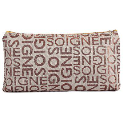 Casual Portable PVC Leather Letter Print Zippered Square Women Storage Bag