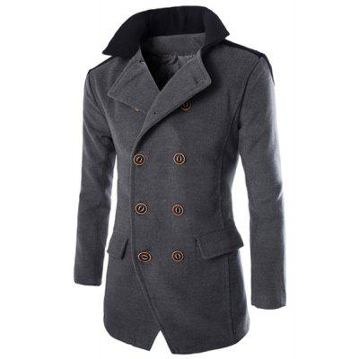 Color Block Spliced Turn-Down Collar Double Breasted Long Sleeve Woolen Men's Peacoat