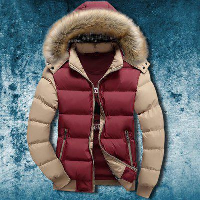 Buy COLORMIX Zipper Pocket Color Splicing Rib Hem Hooded Long Sleeves Men's Thicken Padded Coat for $35.71 in GearBest store
