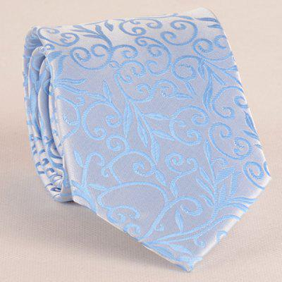 Stylish Flower Rattan Jacquard 8CM Width Sky Blue Tie For Men