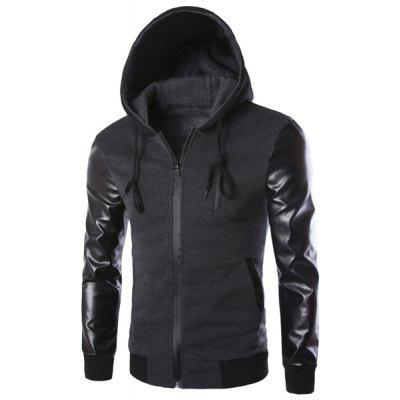 Vogue Drawstring Hooded PU Leather Spliced Zipper Design Long Sleeves Men's Slimming Jacket