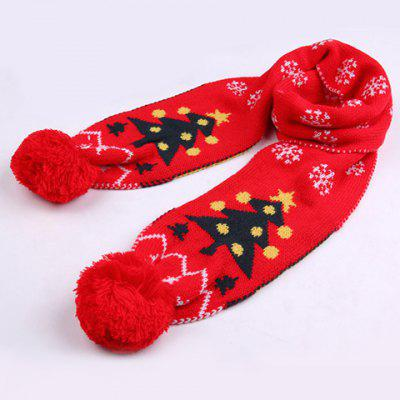 Chic Woolen Yarn Ball Pendant Christmas Tree Pattern Warmth Scarf For Kids
