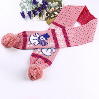 Woolen Yarn Ball Pendant Christmas Snowman Pattern Warmth Scarf For Kids