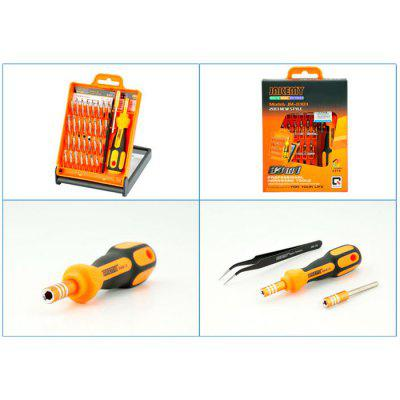 JAKEMY JM-8101 33 in 1 Screwdriver Kit Repair ToolTool Kit<br>JAKEMY JM-8101 33 in 1 Screwdriver Kit Repair Tool<br><br>Certificate: CE<br>Model: JM-8101<br>Optional Color: Assorted Colors<br>Package Contents: 30 x Screwdriver Bit, 1 x Non-slip Handle, 1 x Multifunction Extension Bar, 1 x Tweezer<br>Package size (L x W x H): 25.00 x 17.00 x 2.50 cm / 9.84 x 6.69 x 0.98 inches<br>Package weight: 0.2960 kg<br>Product size (L x W x H): 24.00 x 16.00 x 1.50 cm / 9.45 x 6.3 x 0.59 inches<br>Product weight: 0.2000 kg<br>Screw Head Type: Slotted, Special, Torx, Hex, Cross<br>Special function: Disassembled Tool<br>Steel Material: Chrome Vanadium Steel