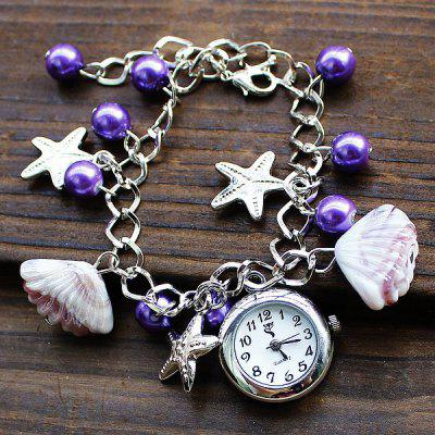 SL004 Shell Starfish Pendant Female Quartz Bead Chain Watch