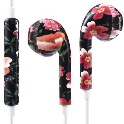Stylish Universal 3.5mm Plug In-ear Earphones - Flower Pattern