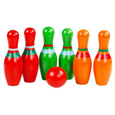6Pcs QZM Wooden Skittle Bowling Pin for Spatial Imagination