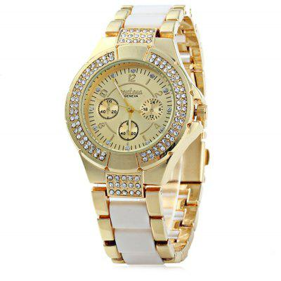 Geneva Ladies Luxury Diamond Bezel quartz horloge