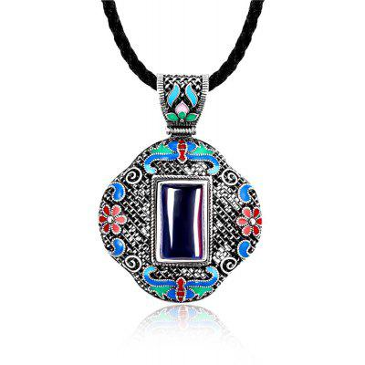 N005-A Women Antique National Style Carving Pendant Necklace