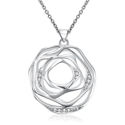 N713 Trendy Hollow Flower Chain Pendant Necklace
