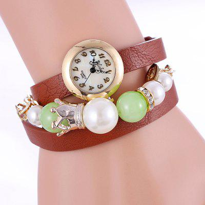 yilisha 2577 Shell Face Women Pearl Quartz Watch Bracelet