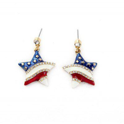 Lady Fashion Stripe Inlaid Crystal Star Pendant Earrings