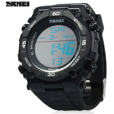 Skmei 1130 Sports Male 5ATM Water Resistant Digital Wristwatch with PU Strap