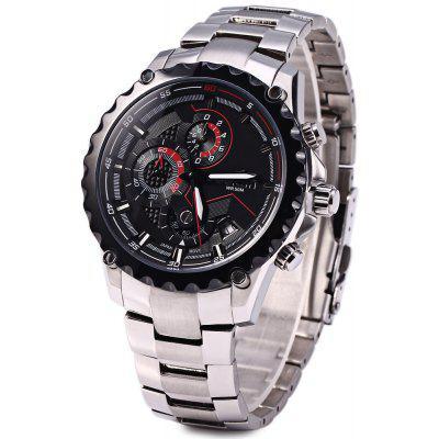 Buy WeiQin W2223 Male Calendar Luminous Quartz Watch with Working Small Three Stitches BLACK for $54.19 in GearBest store