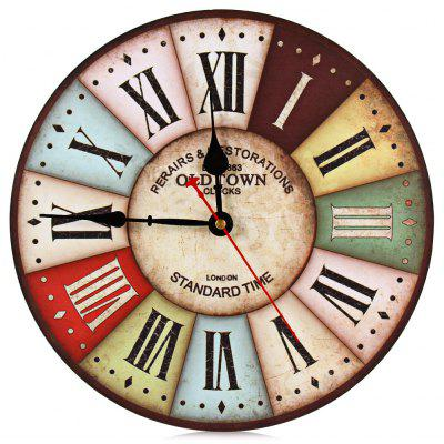 Silent Round Wooden Wall Clock