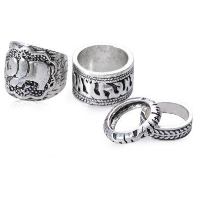 4 pcs Old Classical Style Round Rings for Ladies