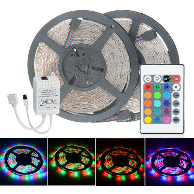 Gearbest 2pcs HML 5m 24W 300 SMD 2835 RGB LED Strip Light - RGB COLOR