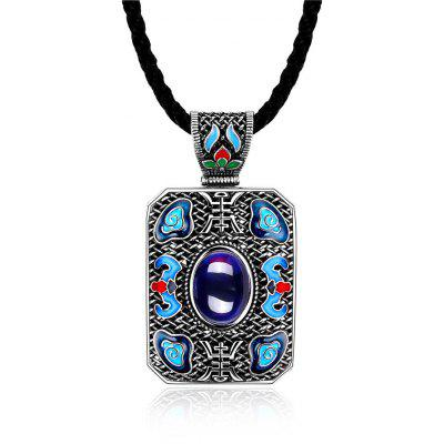 N004-A Ladies National Style Rectangle Shape Pendant Necklace