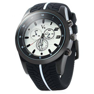 V6 V0281 Male Tire Stripe Rubber Band Quartz Watch