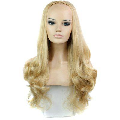 Buy GOLDEN BROWN WITH BLONDE Fashion Shaggy Long Wavy Heat Resistant Synthetic Blonde Mixed Half Wig For Women for $17.25 in GearBest store