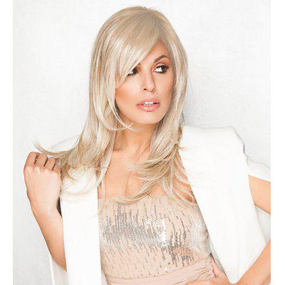 Buy LIGHTBLONDE Charming Long Side Bang Vogue Fluffy Natural Wave Light Blonde Synthetic Wig For Women for $20.35 in GearBest store