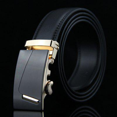 Stylish Short Stripy Automatic Buckle Formal Wide Belt For Men